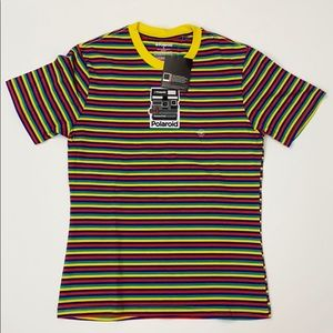 PacSun Shirts - Polaroid Embroidered Horizontal Stripe Rainbow Tee